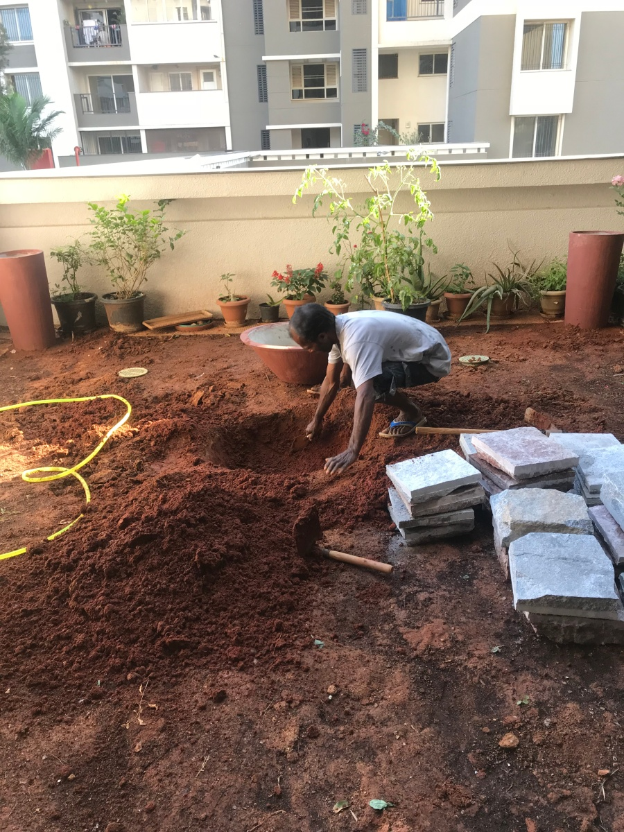 Digging for the lilly pond